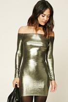 Love21 Women's  Pewter Contemporary Metallic Dress