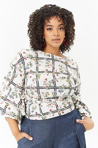 Forever21 Plus Size Grid Floral Wrap Top