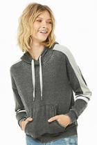 Forever21 Striped Hooded Fleece Pullover