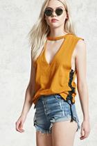 Forever21 Frayed Button Fly Denim Shorts
