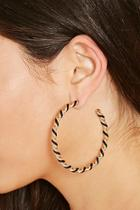 Forever21 Black & Gold Twisted Hoop Earrings