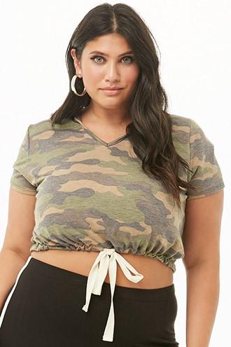 Forever21 Plus Size French Terry Hooded Camo Crop Top