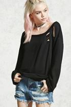 Forever21 Distressed French Terry Top