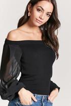 Forever21 Chiffon Sleeve Sweater
