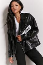 Forever21 Graphic Faux Leather Moto Jacket