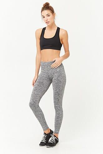 Forever21 Active Marled Ribbed-trim Leggings