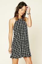Love21 Women's  Contemporary Grid Print Dress