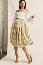 Forever21 Floral Pleated Midi Skirt