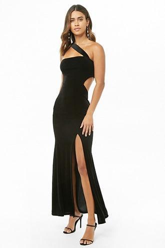 Forever21 Velvet One-shoulder Cutout Mermaid Dress