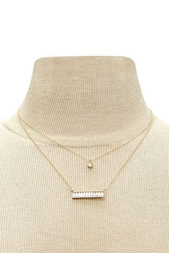 Forever21 Bar Charm Layered Necklace