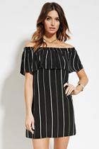 Love21 Women's  Black & White Contemporary Stripe Mini Dress