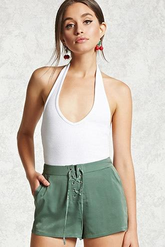 Forever21 Satin Lace-up Shorts