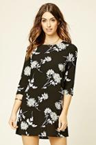 Love21 Women's  Black & Cream Contemporary Floral Shift Dress
