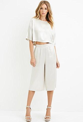 Love21 Textured Metallic Culottes