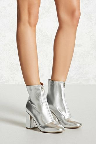 Forever21 Metallic Faux Leather Boots