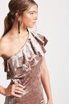 Forever21 Crushed Velvet One-shoulder Dress