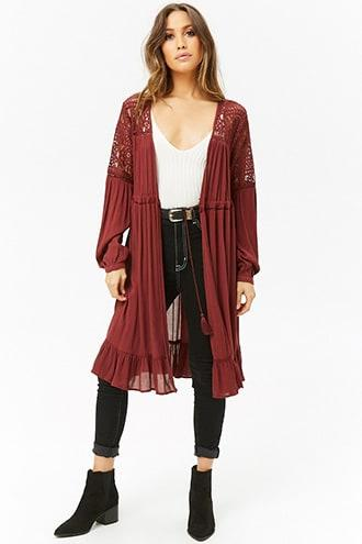 Forever21 Ruffle & Lace Longline Cardigan