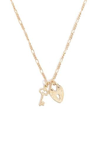 Forever21 Lock & Key Figaro Chain Necklace