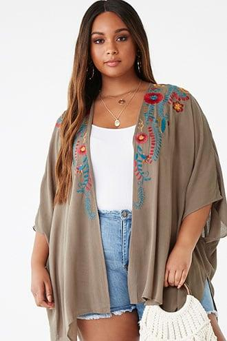 Forever21 Plus Size Embroidered Floral Cardigan