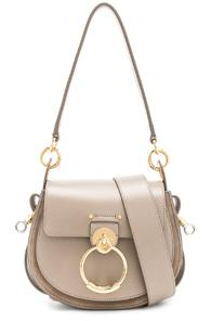 Chloe Small Tess Shiny Calfskin Shoulder Bag In Gray