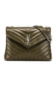 Saint Laurent Medium Supple Monogramme Loulou Chain Bag In Green