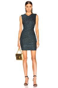 Balmain Draped Jersey Lurex Mini Dress In Black,blue,metallic