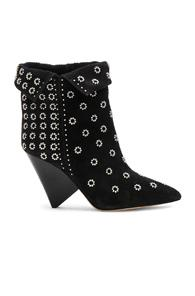 Isabel Marant Studded Suede Lakky Ankle Boots In Black