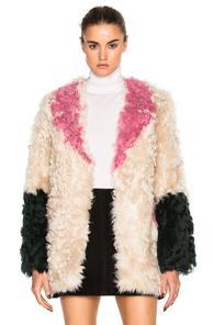 Sandy Liang Ermie Coat In Neutrals,pink,green