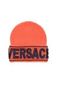 Versace Logo Beanie In Orange