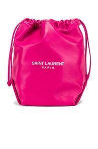 Saint Laurent Supple Logo Teddy Pouch In Pink