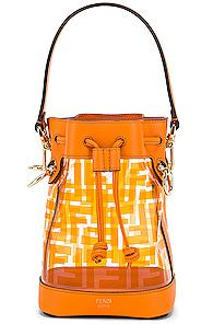 Fendi Mini Mon Tresor Logo Crossbody Bag In Orange