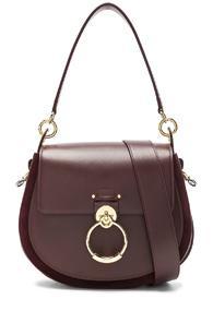 Chloe Medium Tess Shiny Calfskin Shoulder Bag In Red