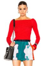 3.1 Phillip Lim Long Sleeve Off Shoulder Pullover In Red
