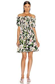 Dolce & Gabbana Floral Lilium Poplin Off The Shoulder Dress In Black,green,floral