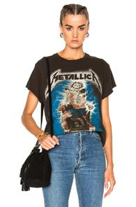 Madeworn Metallica Ride The Lightning Tee In Dirty Black In Abstract,gray