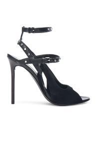 Balenciaga Leather & Suede Strappy Heels In Black
