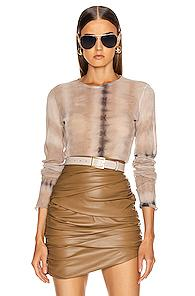 Raquel Allegra Fitted Mesh Long Sleeve In Neutral,ombre & Tie Dye
