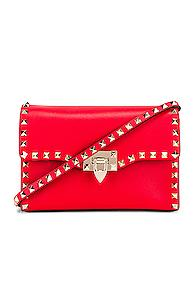 Valentino Rockstud Crossbody Bag In Red