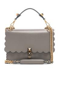 Fendi Scallop Chain Crossbody Bag In Gray