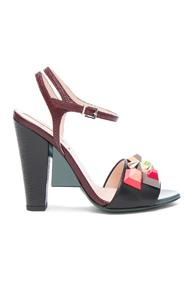 Fendi Embossed Leather Fantasia Heels In Abstract,black,red