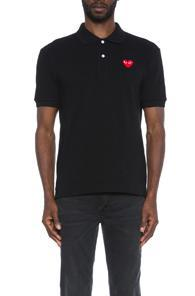Comme Des Garcons Play Cotton Polo With Red Emblem In Black