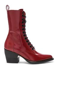 Chloe Rylee Shiny Leather Lace Up Buckle Boots In Red