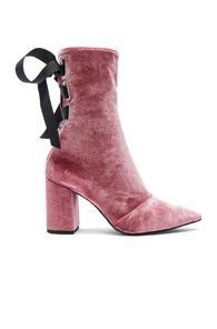 Self-portrait X Robert Clergerie Velvet Kibbont Boots In Pink