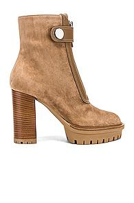 Gianvito Rossi Julian Zipper Ankle Heel Boots In Neutral