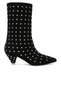 Attico Swarovski Embellished Suede Sofia Boots In Black