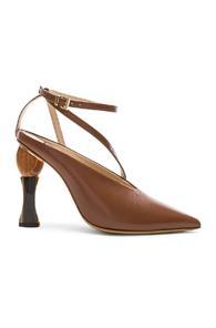 Jacquemus Leather Faya Heels In Brown