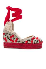 Castaner Embroidered Canvas Carina Espadrilles In Red