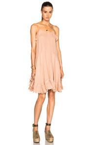 Chloe Gauzy Linen Ruffle Mini Dress In Pink,neutrals