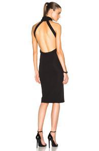 Brandon Maxwell Halter Midi Dress In Black