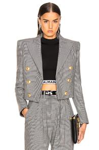 Balmain Double Breasted Cropped Blazer In Black,plaid,white